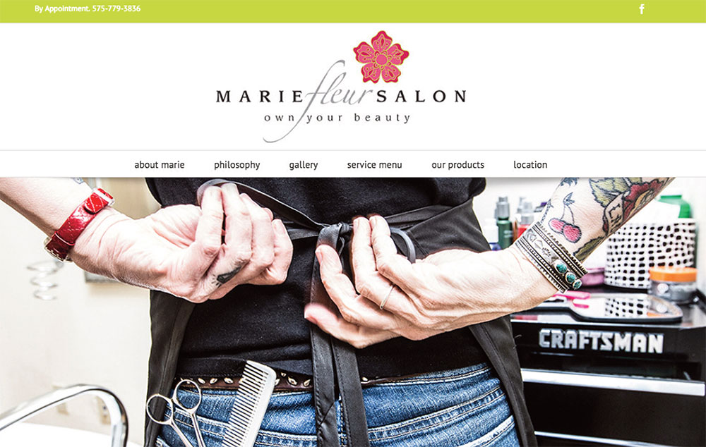 website design for haridresser - Marie fluer Salon