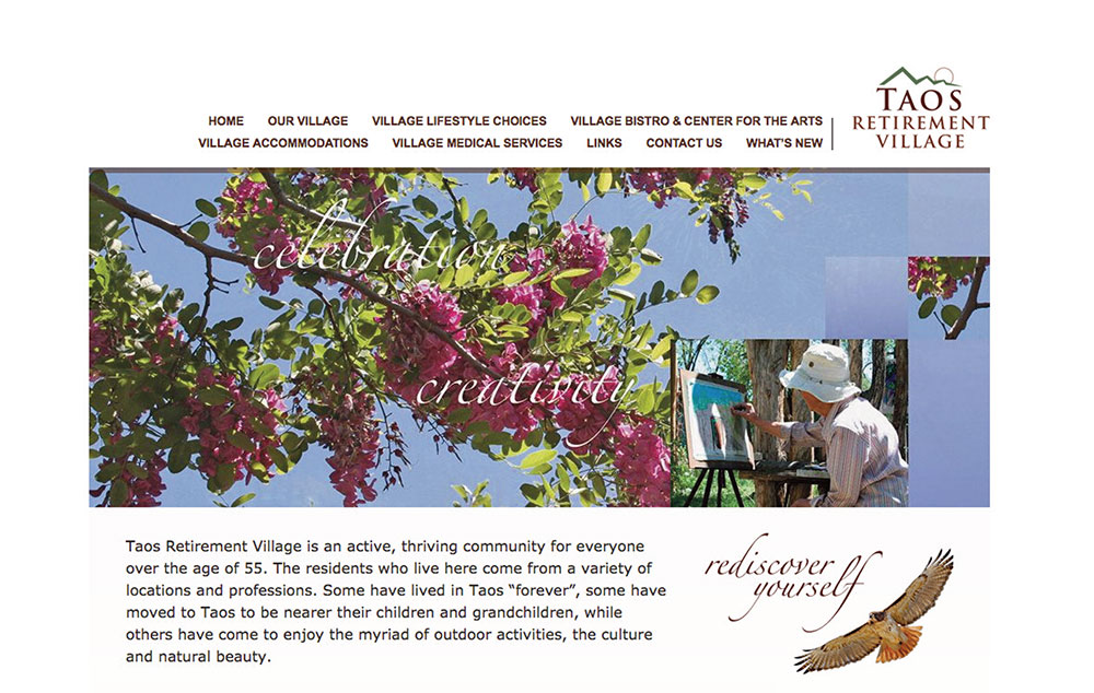 web site design fro Taos Retirement Village