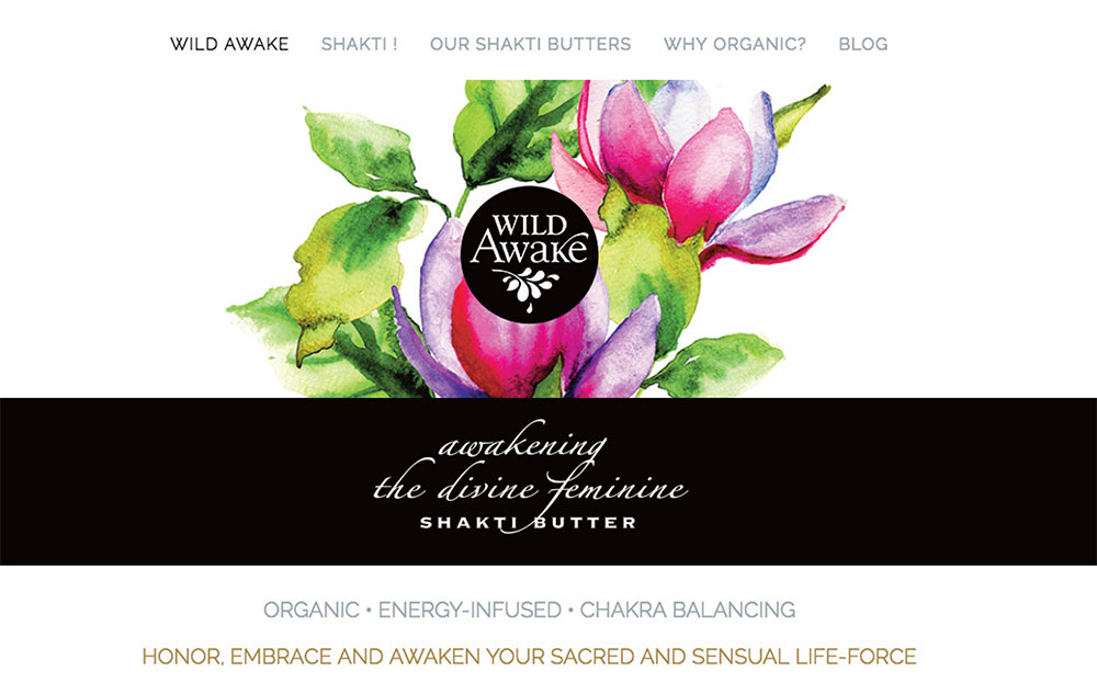 web site design for Wild Awake Skin Care